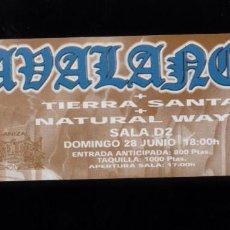 Billets de concerts: AVALANCH + TIERRA SANTA 1998 SALA D2 DE BURGOS ENTRADA DE CONCIERTO NUEVA. Lote 56405121