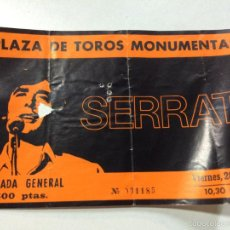 Billets de concerts: ENTRADA CONCIERTO ORIGINAL JOAN MANEL SERRAT, PLAZA TOROS MONUMENTAL BARCELONA, 1980'S.. Lote 57306260