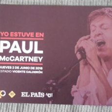 Entradas de Conciertos: SOPORTE DE CARTULINA PARA COLOCAR LA ENTRADA DE PAUL MCCARTNEY EN MADRID 2016. Lote 58516368