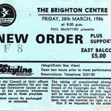 Entradas de Conciertos: ENTRADA NEW ORDER EN THE BRIGHTON CENTER, 28 DE MARZO 1986 ¡ENTERA, PERFECTO ESTADO! - CLC. Lote 68409529
