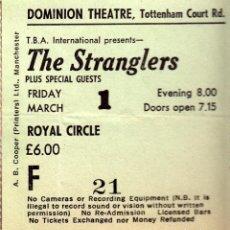 Entradas de Conciertos: ENTRADA THE STRANGLERS EN EL DOMINION THEATRE, 1 DE MARZO 1985 ¡ENTERA, PERFECTO ESTADO! - CLC. Lote 68409753