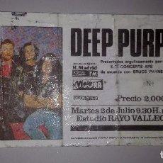 Entradas de Conciertos: ENTRADA 1985 DEEP PURPLE EN MADRID - USADA PLASTIFICADA -. Lote 75655843