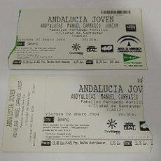 Entradas de Conciertos: 2 ENTRADA ENTRADAS CONCIERTO CONCIERTOS ANDY Y & LUCAS MANUEL CARRASCO JUNIOR CADIZ. Lote 77894013