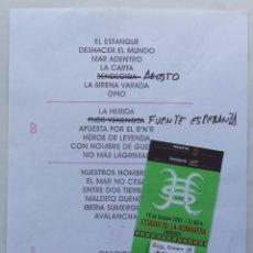 Entradas de Conciertos: TRACK LIST + ENTRADA DE CONCIERTO HEROES DEL SILENCIO ZARAGOZA 10 OCTUBRE 2007 ENRIQUE BUNBURY. Lote 147574522