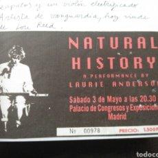 Entradas de Conciertos: ENTRADA CONCIERTO LAURIE ANDERSON 3 MAYO 1986 MADRID NÚMERO 978 PRECIO 1500 PTAS.. Lote 80851690