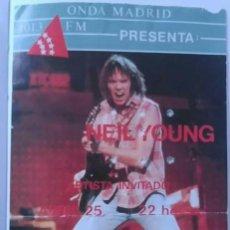 Entradas de Conciertos: NEIL YOUNG ENTRADA MADRID 1987 25 ABRIL NÚMERO 91 400 PESETAS CASA DE CAMPO AUDITORIUM. Lote 80853176