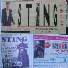 Entradas de Conciertos: STING PASE VIP SOUL CAGES A CORUÑA, ENTRADA COLISEUM Y ENTRADA PALACIO DE LOS DEPORTES MADRID. Lote 80855512