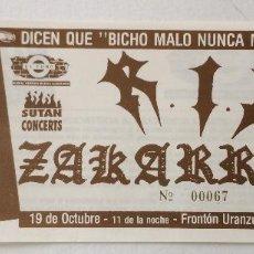 Entradas de Conciertos: RIP R.I.P. ZAKARRAK IRÚN ENTRADA ORIGINAL PUNK. Lote 83714364