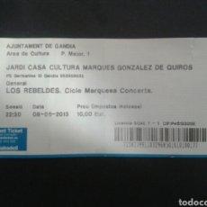 Entradas de Conciertos: ENTRADA ORIGINAL. CONCIERTO DE REBELDES EN GANDIA (VALENCIA) 8/5/2013.. Lote 92080478