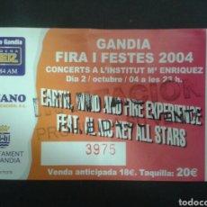 Entradas de Conciertos: ENTRADA-INVITACIÓN ORIGINAL. EARTH, WIND, & FIRE EXPERIENCE EN GANDIA (VALENCIA) 2/10/2004.. Lote 92080648