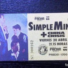 Entradas de Conciertos: SIMPLE MINDS + CHINA CRISIS AUDITORIUM PACHA VALENCIA 1984 ENTRADA COMPLETA. VER FOTOS. Lote 96762287