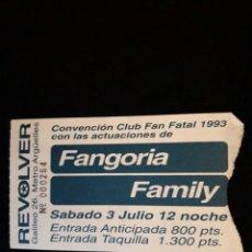 Bilhetes de Concertos: ENTRADA FANGORIA ORIGINAL ALASKA SALA REVOLVER GIRA VULCANO 1992 MADRID + 5€ ENVIO C.N. Lote 97507844