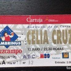 Entradas de Conciertos: CELIA CRUZ. 13 DE JULIO AUDITORI0 DE LA CARTUJA, 1993 ENTRADA ORIGINAL COMPLETA SEVILLA. Lote 97701011