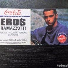 Entradas de Conciertos: EROS RAMAZZOTTI LAS VENTAS, MADRID 1988 ENTRADA ORIGINAL COMPLETA . Lote 97701851