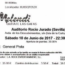 Entradas de Conciertos: ENTRADA CONCIERTO MELENDI. AUDITORIO ROCÍO JURADO SEVILLA 2017. Lote 101947123