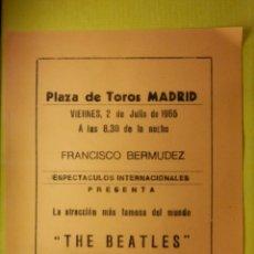 Entradas de Conciertos: ANTIGUA PUBLICIDAD - CONCIERTO THE BEATLES MADRID - PLAZA DE TOROS - 2 DE JULIO DE 1965 ANARANJADO. Lote 103453840