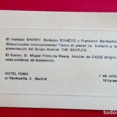 Entradas de Conciertos: BEATLES CONCIERTOS EN ESPAÑA. INVITACION OFICIAL.HOTEL FENIX MADRID ENVIO CERTIFICADO INCLUIDO.. Lote 110897838