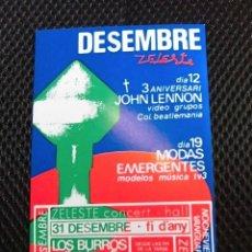 Entradas de Conciertos: FOLLETO ORIGINAL ZELESTE BARCELONA LOS BURROS ULTRATRUITA ULTIMO DE LA FILA NUEVO MANOLO GARCIA. Lote 108049579