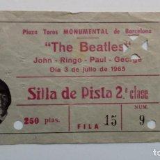 Entradas de Conciertos: THE BEATLES- ENTRADA ORIGINAL BARCELONA 1965- TICKET DE 250 PESETAS- SILLA EN PISTA.. Lote 110184527
