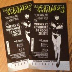 Biglietti di Concerti: THE CRAMPS. JUEGO 2 ENTRADAS SIN ROMPER. BCN. PERFECTO ESTADO.. Lote 227199970