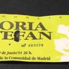 Entradas de Conciertos: ENTRADA ORIGINAL DEL CONCIERTO DE GLORIA ESTEFAN MADRID PALACIO DEPORTES 9 JUNIO 1991. Lote 114418399