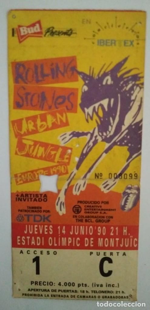 ENTRADA ORIGINAL CONCIERTO ROLLING STONES URBAN JUNGLE TOUR 14/6/1990 (Música - Entradas)