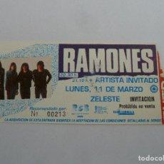 Entradas de Conciertos: ENTRADA ORIGINAL ANTIGUA CONCIERTO RAMONES EN SALA ZELESTE DE BARCELONA. Lote 117439627