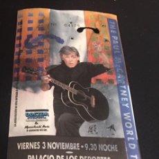 Entradas de Conciertos: ENTRADA ORIGINAL CONCIERTO DE PAUL MCCARTNEY 3 NOVIEMBRE PALACIO DEPORTES MADRID 1989 THE BEATLES. Lote 119019203