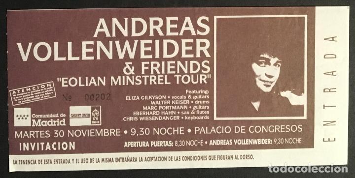 ANDREAS VOLLENWEIDER ENTRADA SIN USAR (Música - Entradas)