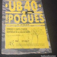 Billets de concerts: ENTRADA ORIGINAL CONCIERTO UB40 THE POGUES TOTE 21 MAYO 1989 SAN ISIDRO MADRID. Lote 122475819