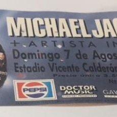 Billets de concerts: ENTRADA ORIGINAL DEL CONCIERTO DE MICHAEL JACKSON MADRID VICENTE CALDERON 7 AGOSTO 1988. Lote 123202863