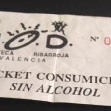 Entradas de Conciertos: TICKET INVITACION CONSUMICION DE LA DISCOTECA N.O.D NOD VALENCIA RUTA DEL BAKALAO 1993. Lote 125949567