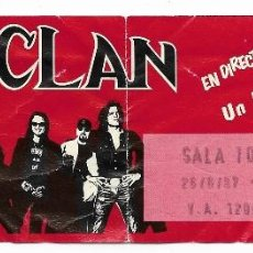 Entradas de Conciertos: ENTRADA DEL CONCIERTO DE M CLAN, UN BUEN MOMENTOUR, JUNIO DE 1987, COMPLETA, SALA TOMSTONE. Lote 125989155
