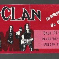 Entradas de Conciertos: ENTRADA DEL CONCIERTO DE M CLAN, UN BUEN MOMENTOUR, MARZO 1996, SALA PI - U. Lote 125990631