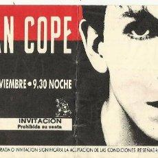 Entradas de Conciertos: ENTRADA JULIAN COPE SALA JACARA NOVIEMBRE 1988. Lote 126054847