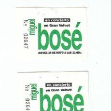Billets de concerts: MIGUEL BOSE: 3 TALONES DE CONCIERTO MUY ANTIGUOS- SOLO PARA COLECCIONISTAS- CONSECUTIVOS!!!. Lote 139505733