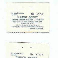 Bilhetes de Concertos: CHUCK BERRY- LOS REBELDES: 2 TALONES DE CONCIERTOS ANTIGUOS-EN PESETAS-BARCELONA-COLECCIONISTAS. Lote 147244301