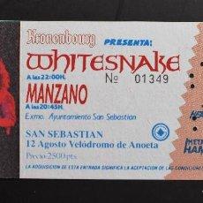 Entradas de Conciertos: ENTRADA DE CONCIERTO WHITESNAKE - DONOSTIA 1990. Lote 127683675