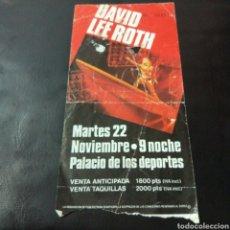Entradas de Conciertos: A1. 337. ENTRADA DE CONCIERTO. DAVID LEE ROTH. Lote 131107387