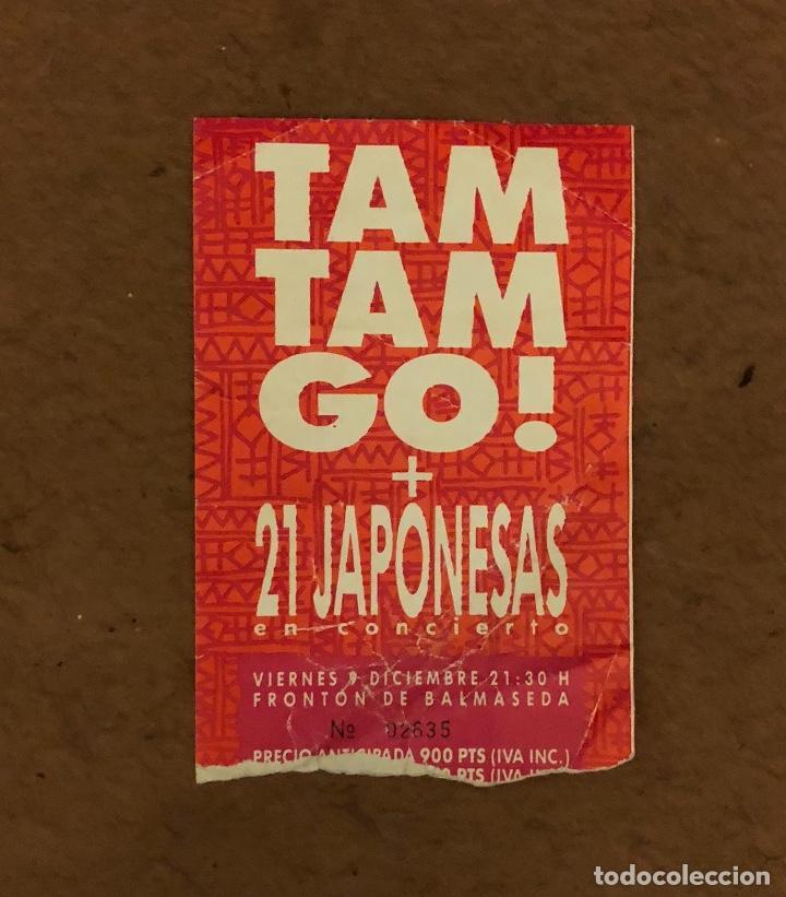 TAM TAM GO! + 21 JAPONESAS. ENTRADA CONCIERTO EN EL FRONTÓN DE BALMASEDA. 7,5 X 11 CMS. (Música - Entradas)
