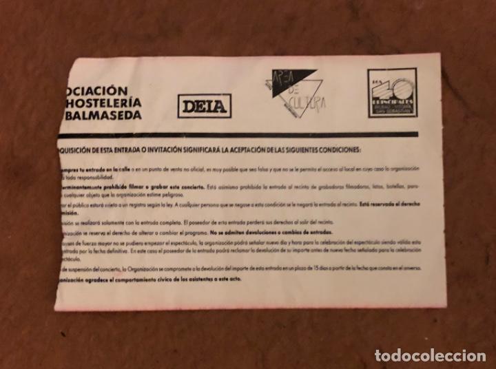 Entradas de Conciertos: TAM TAM GO! + 21 JAPONESAS. ENTRADA CONCIERTO EN EL FRONTÓN DE BALMASEDA. 7,5 x 11 cms. - Foto 2 - 132427598