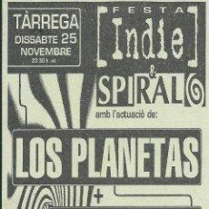 Biglietti di Concerti: LOS PLANETAS+LOOPSIDE+DJ TOPO, FLYER CONCIERTO EN TARREGA 1995. Lote 132692050