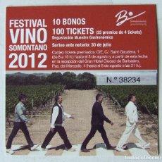 Entradas de Conciertos: BEATLES ABBEY ROAD TICKET FESTIVAL DEL VINO DEL SOMONTANO 2012 HUESCA. Lote 136439282