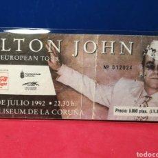 Entradas de Conciertos: ENTRADA CONCIERTO ELTON JOHN COLISEUM CORUÑA 1992. Lote 138543158