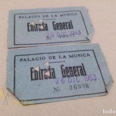 Entradas de Conciertos: ENTRADAS AL PALACIO DE LA MÚSICA - CONCERT DE SANT ESTEVE - 1963. Lote 142735558