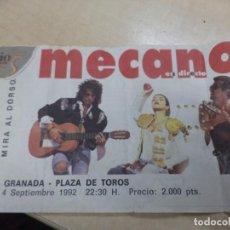 Entradas de Conciertos: ENTRADA DEL GRUPO MECANO EN DIRECTO.ÚLTIMA GIRA 1992.GRANADA 4 DE SEPTIEMBRE.RARÍSIMA.. Lote 145010830