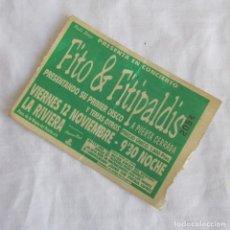 Billets de concerts: ENTRADA FITO & FITIPALDIS PRESENTACIÓN DE SU PRIMER DISCO A PUERTA CERRADA SALA LA RIVIERA. Lote 145975666