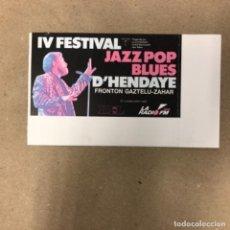 Entradas de Conciertos: JOE COCKER. ENTRADA COMPLETA CONCIERTO EN IV FESTIVAL JAZZ POP BLUES D'HENDAYE, EN 1990.. Lote 147205162