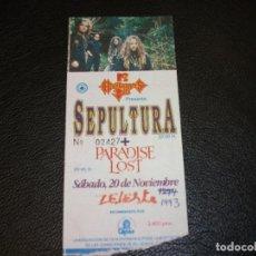 Entradas de Conciertos: SEPULTURA PARADISE LOST ENTRADA DE CONCIERTO TICKET 1993 ZELESTE BARCELONA. Lote 147322310