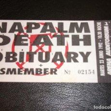 Entradas de Conciertos: NAPALM DEATH - OBITUARY - DISMEMBER ENTRADA DE CONCIERTO TICKET 1992 ARENA AUDITORIUM. Lote 147372782